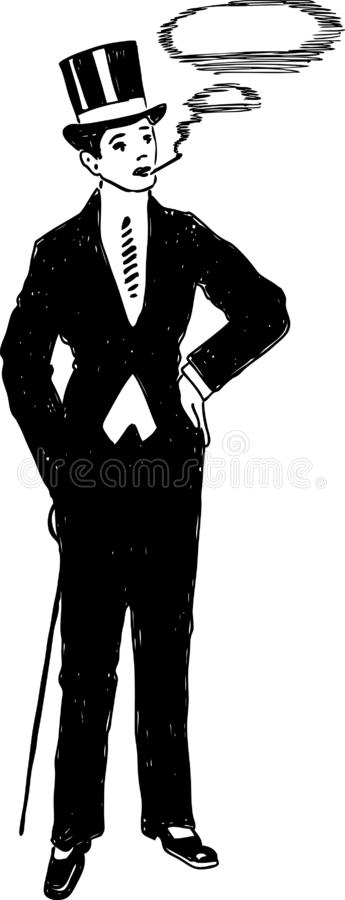 Silhouette of a person in a vintage costume. Vector image of a man in a suit of early 20th century vector illustration