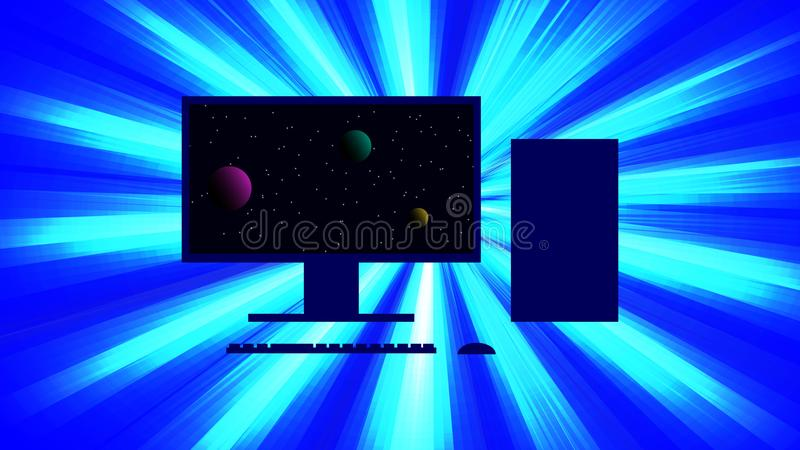 Silhouette of a personal computer against a background of a bright flash of light. On the monitor is a picture of the cosmos. vector illustration