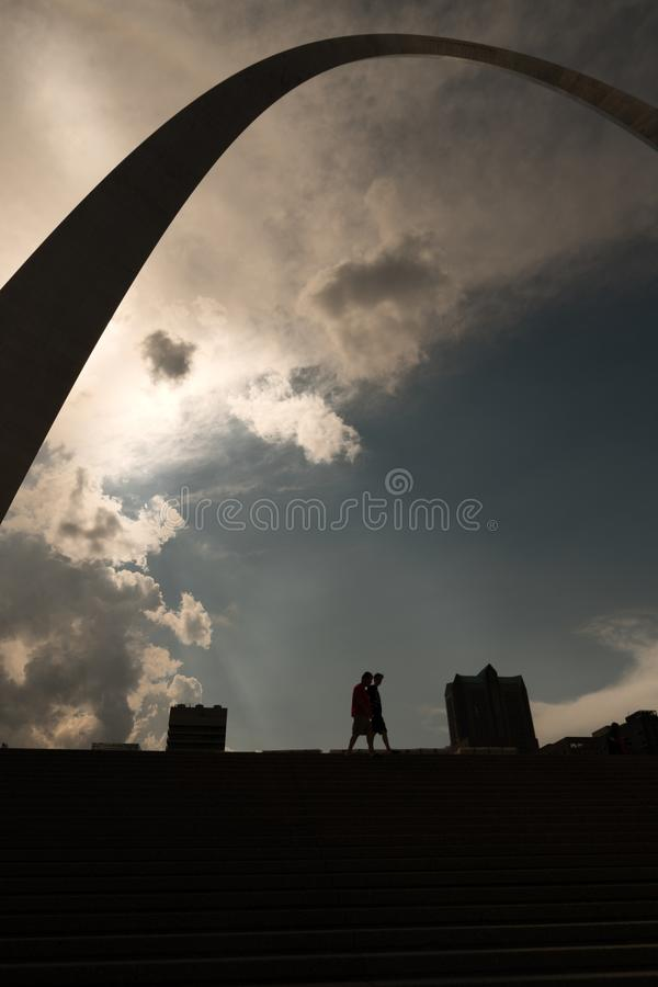 A Silhouette perspective of the gate way arch in st louis misouri. A view of the Gateway arch in ST. Louis Misouri. The arch was designed to represent the royalty free stock image