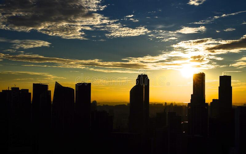 Silhouette Photo of City Building during Sunset royalty free stock photo