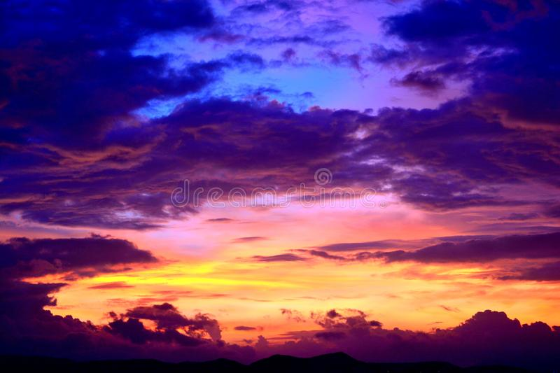 Silhouette Photo of Cumulus Clouds stock images