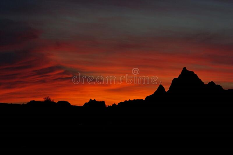 Silhouette Photo of Mountains during Golden Hour stock photos