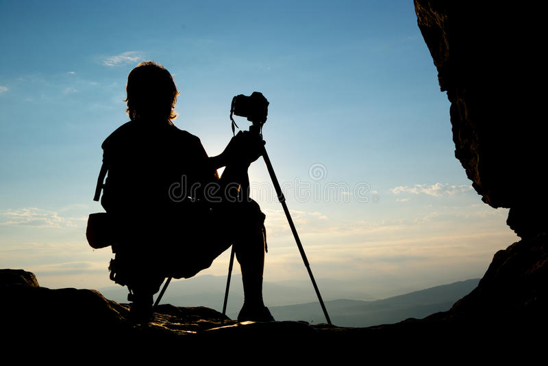 Download Silhouette of photographer stock image. Image of photographer - 15408135