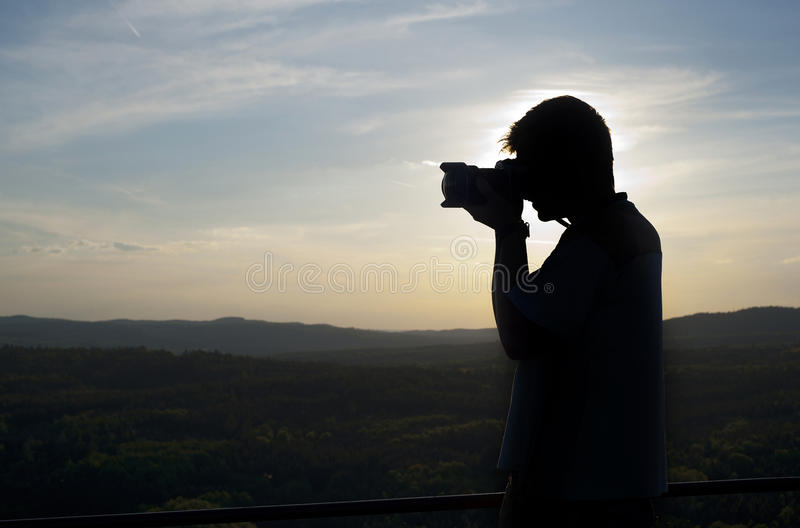 Download Silhouette of photographer stock image. Image of photography - 26807195