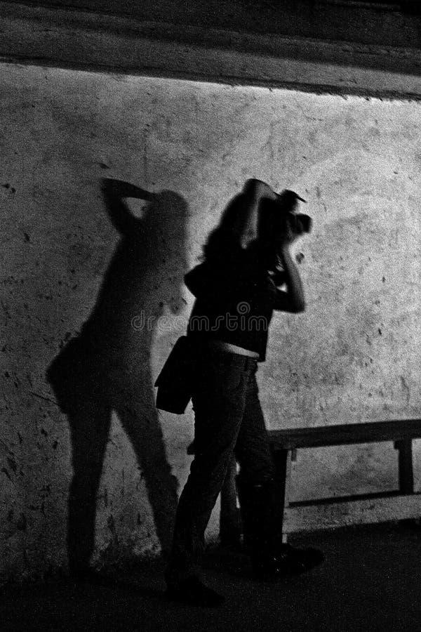 Silhouette of photographers stock photo