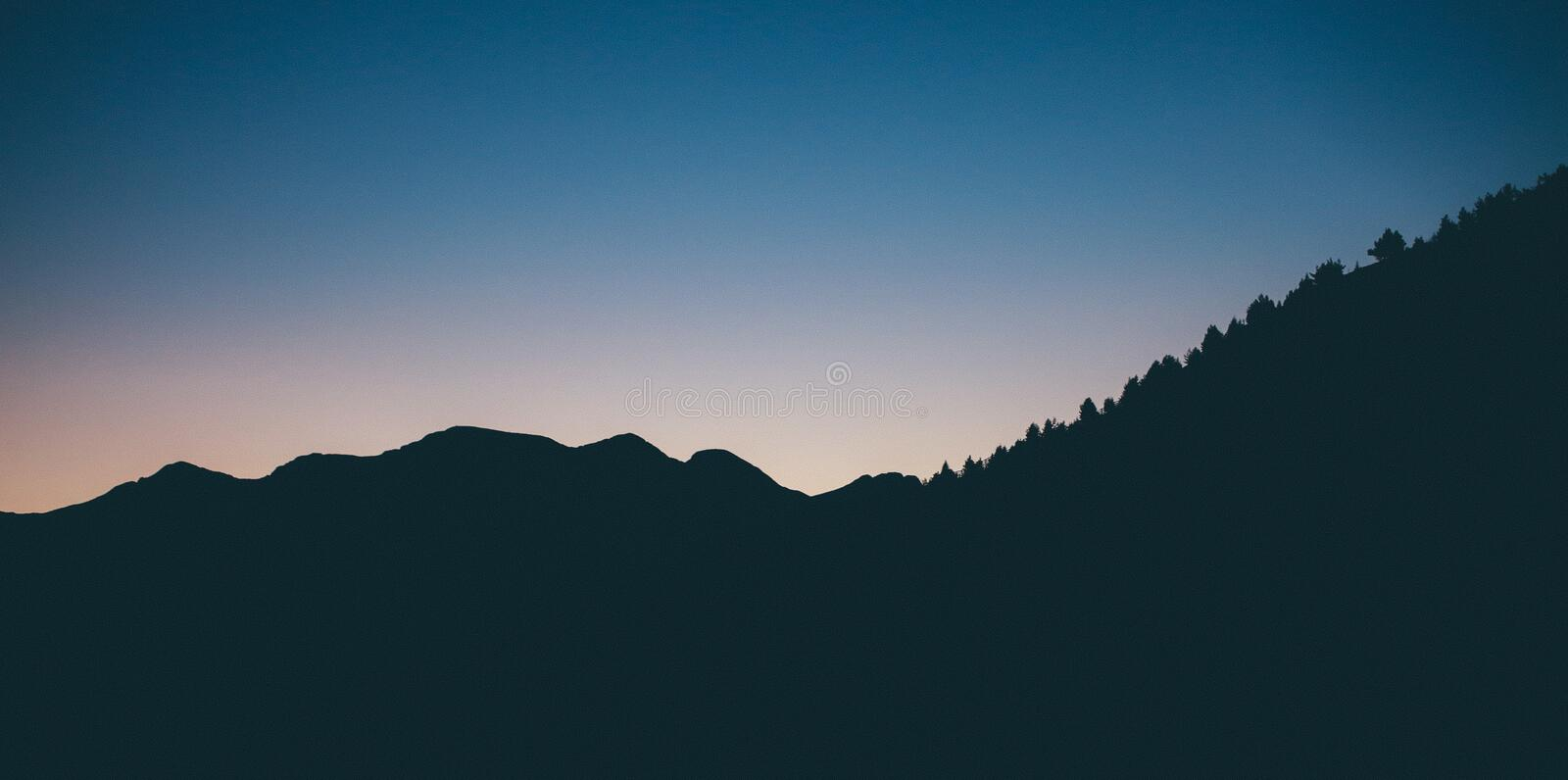 Silhouette Photography of Mountain stock image