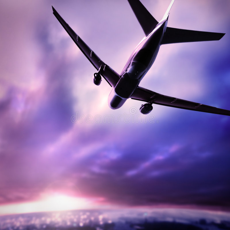 Silhouette of a plane royalty free stock image