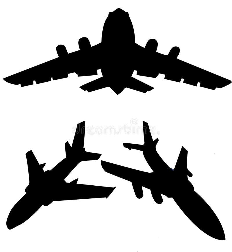 Silhouette plane stock illustration