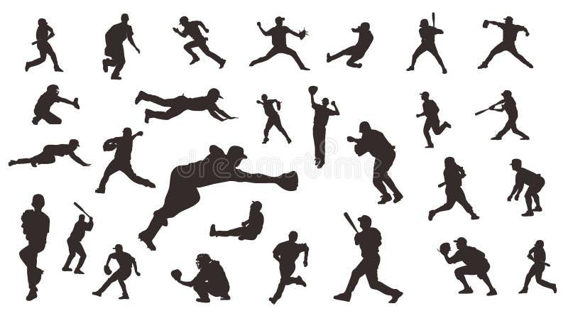 Silhouette of Player Baseball vector Illustration design concept, Sport vector design template stock illustration