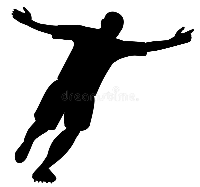 Silhouette of player celebrating the goal royalty free stock photo