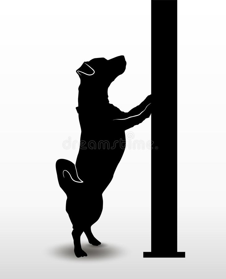 Silhouette of a playing dog jack russell terrier standing on its hind paws and looking upwards. Vector illustration.  royalty free illustration