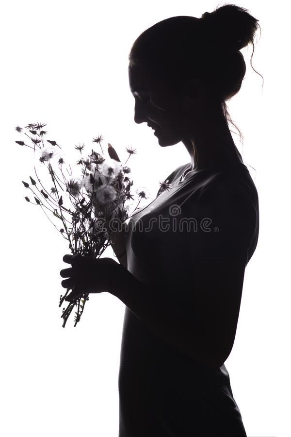 Silhouette pof a beautiful girl with a bouquet of dry dandelions, the face profile of a dreamy young woman on a white isolated royalty free stock photos