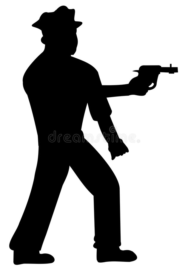 Silhouette of policeman stock image