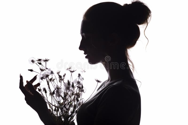 Silhouette of girl with a bouquet of with dandelions, young woman face on a white isolated background royalty free stock images