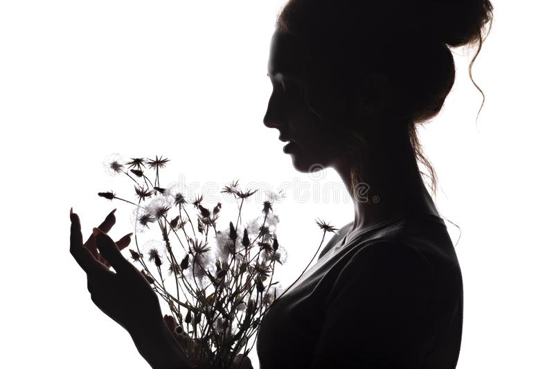 Silhouette portrait of a beautiful girl with a bouquet of dandelions, face woman profile on a white isolated background. Silhouette portrait of a beautiful girl stock images