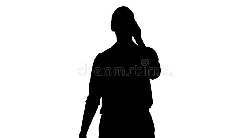 Silhouette Positive human emotions. Happy emotional girl laughing from the bottom of her heart. stock illustration