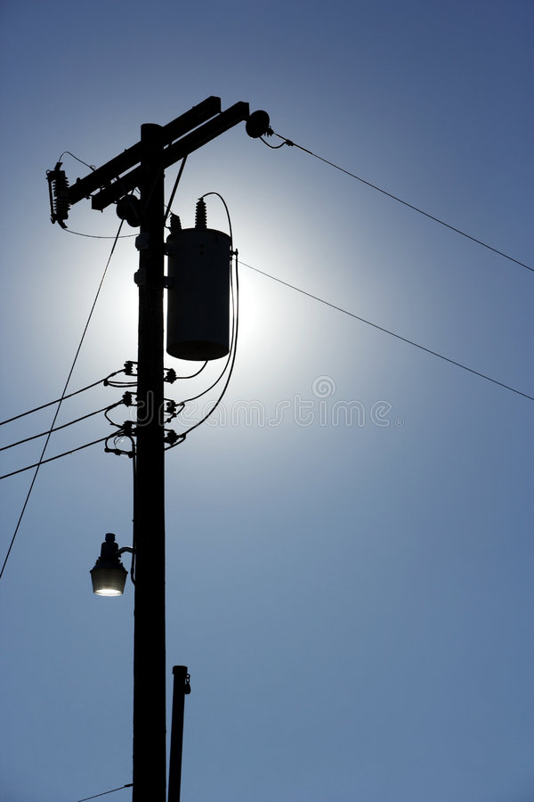 Silhouette Powerlines stock photography