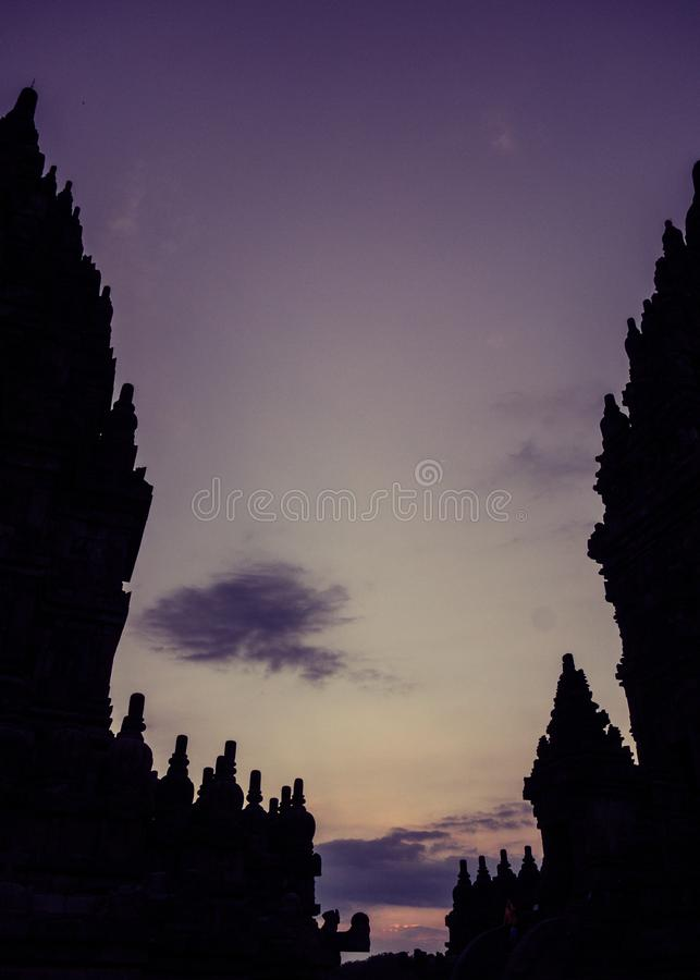 Silhouette of Prambanan Temple, Yogyakarta, Indonesia. Silhouette of architectural towers at Prambanan Temple, Yogyakarta, Indonesia at sunset royalty free stock images