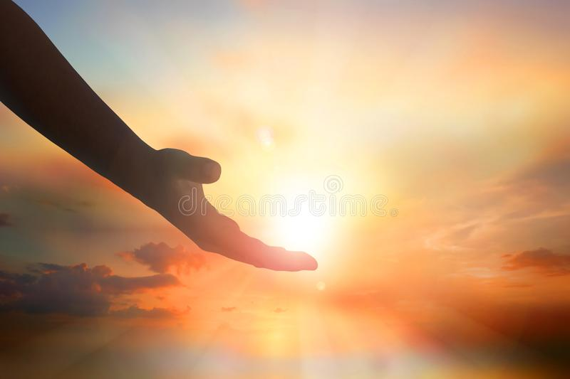 Hands of Jesus Christ silhouette stock photography