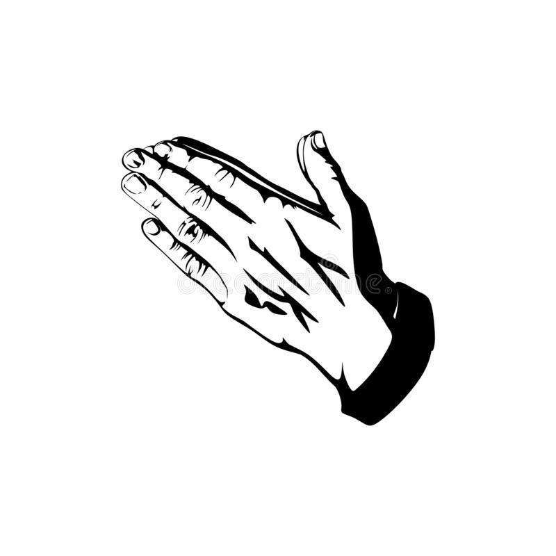 Silhouette of praying hands. Man prays and turns to God.  royalty free illustration