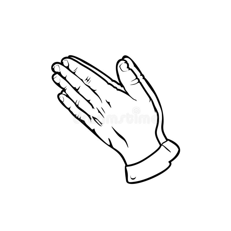 Silhouette of praying hands. Man prays and turns to God.  vector illustration