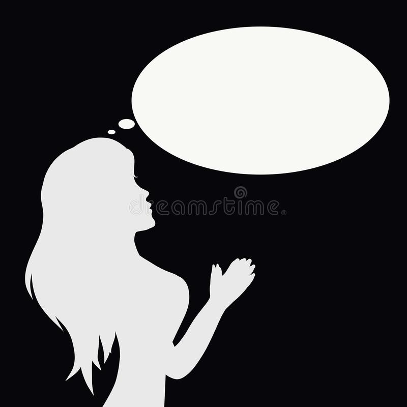 Silhouette of a praying young woman royalty free illustration