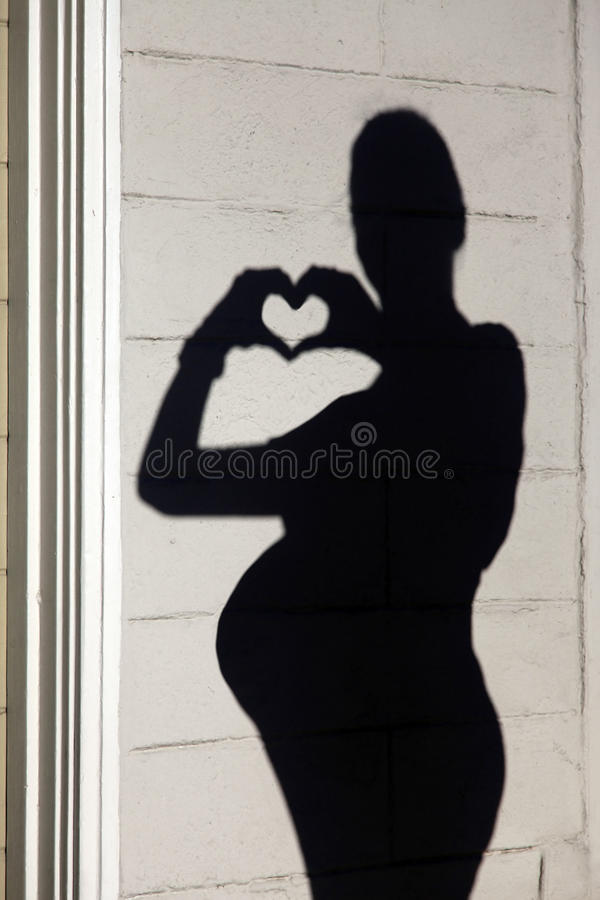 Silhouette of a pregnant woman royalty free stock images