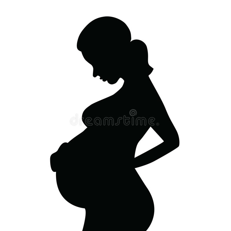Silhouette of a Pregnant Woman royalty free illustration