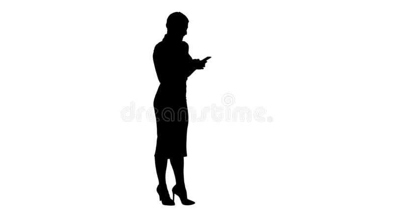 Silhouette Pretty business woman using cell phone texting something. vector illustration