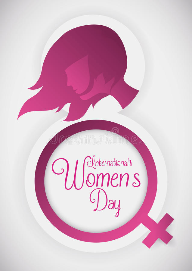 Silhouette for a Pretty Woman and Women's Symbol for her Commemorative Day, Vector Illustration stock images