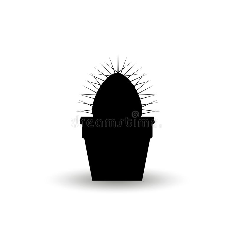 Silhouette of a prickly cactus plant in a flower pot. Graphic Black Vector Illustration Isolated On White Background vector illustration