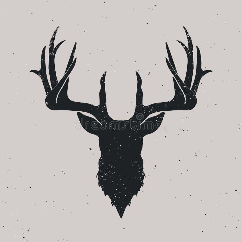 Silhouette principale de cerfs communs illustration stock