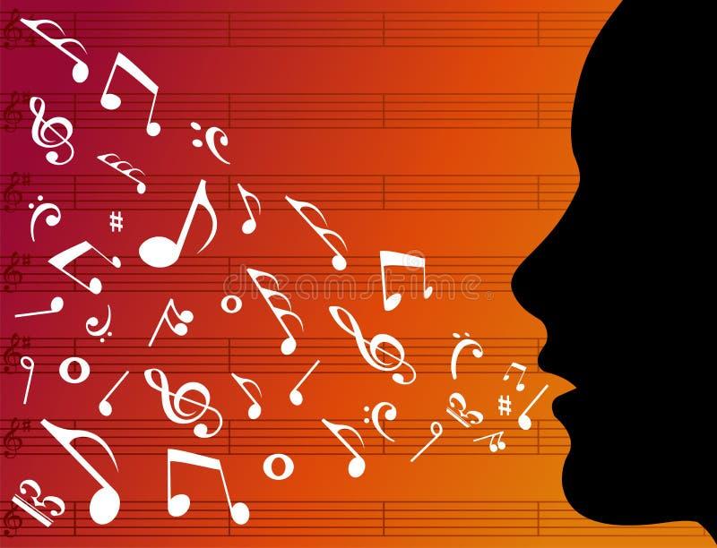 Silhouette principale de femme avec des notes de musique illustration stock