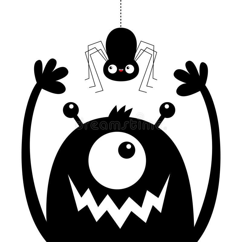 Silhouette principale de noir de visage de monstre Araign?e accrochante Un oeil, bouche de croc de dents, klaxons, mains  B?b? dr illustration de vecteur