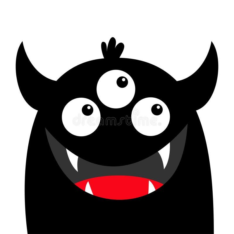 Silhouette principale de noir de visage de monstre Trois yeux, sourire de croc de dents, klaxons Caract?re dr?le de bande dessin? illustration stock