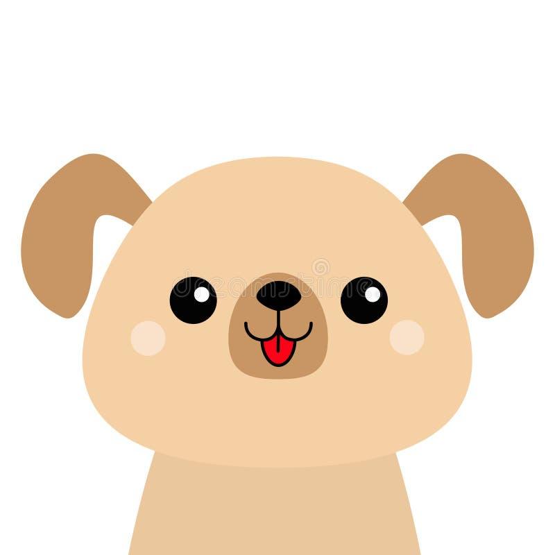 Silhouette principale heureuse de visage de chien de bande dessinée Caractère mignon de cabot Animal de Kawaii Chiot drôle de béb illustration de vecteur