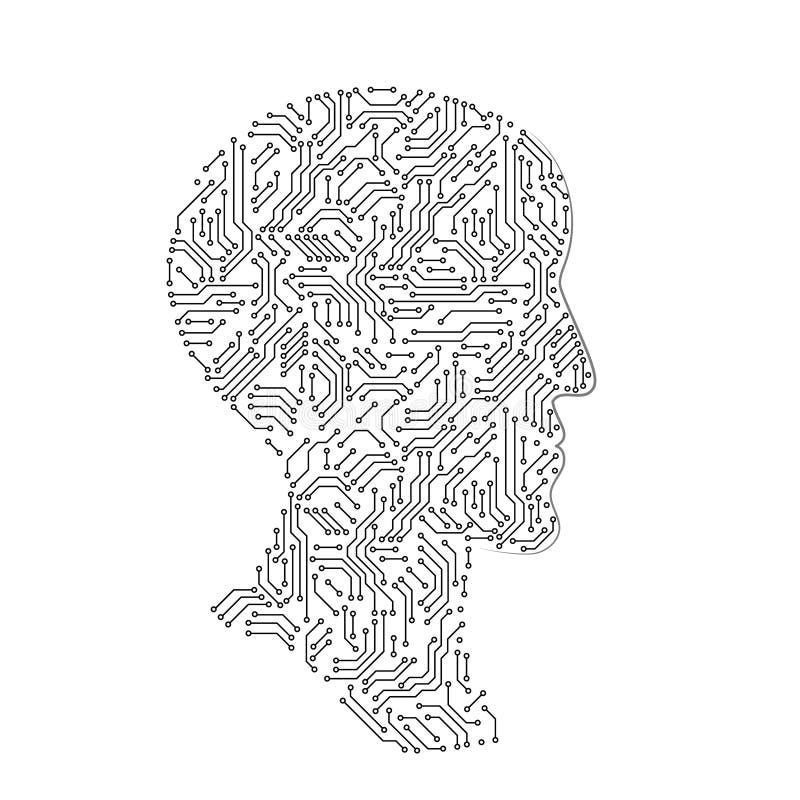 Silhouette principale masculine de profil faite avec la carte électronique, concept futuriste d'intellect artificiel noir et blan illustration libre de droits