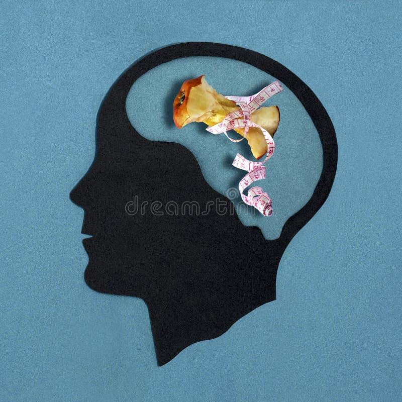 Silhouette principale stylisée Anorexies mentales photos stock
