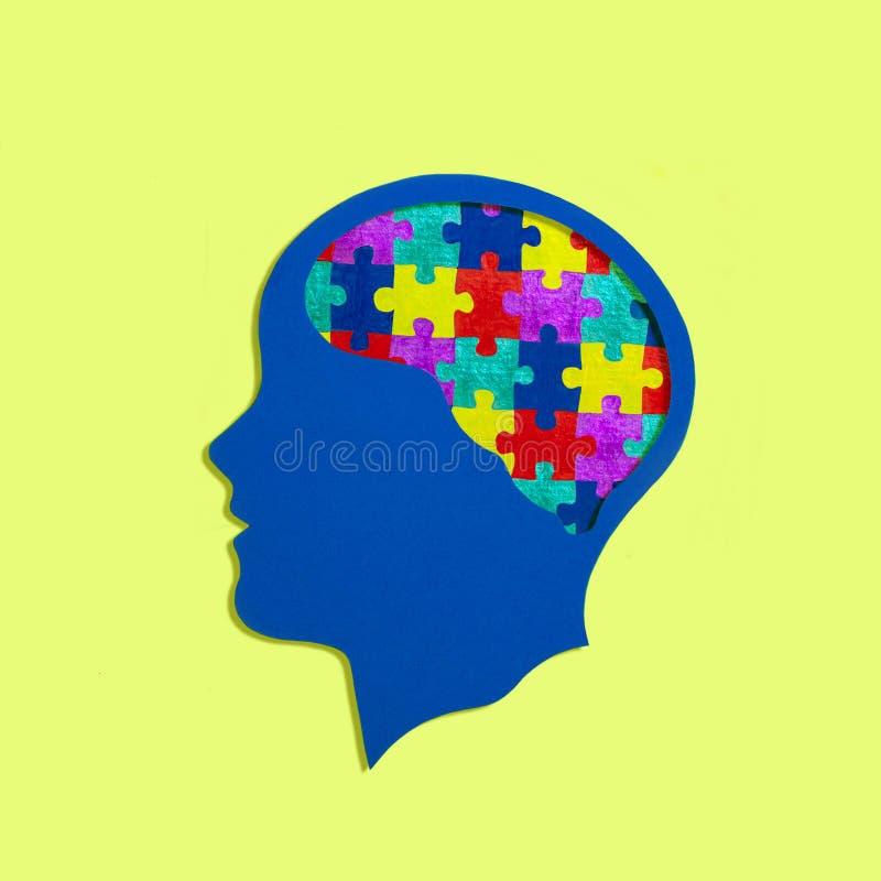 Silhouette principale stylisée autism photographie stock libre de droits