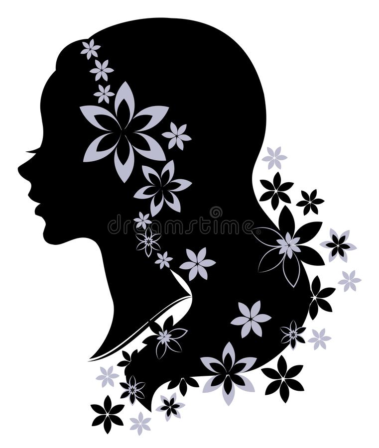 Silhouette profile of a cute lady s head. The girl has long beautiful hair, decorated with flowers. Suitable for logo, advertising vector illustration