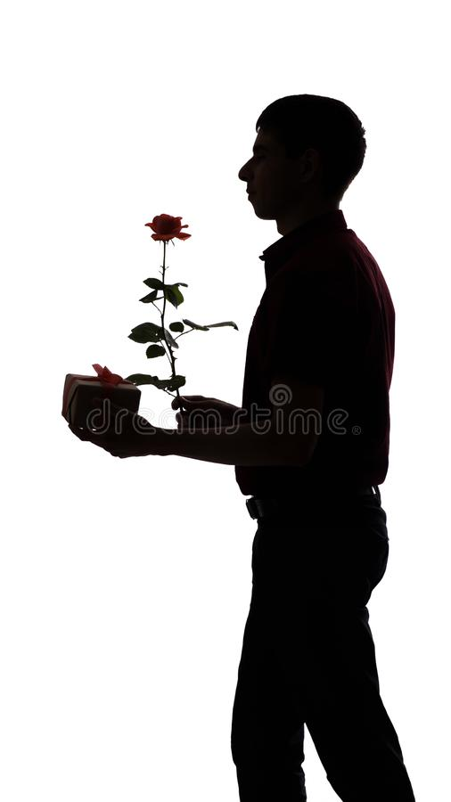Silhouette profile of a man with a gift box and a rose flower for his beloved, the guy congratulates on white isolated background royalty free stock image