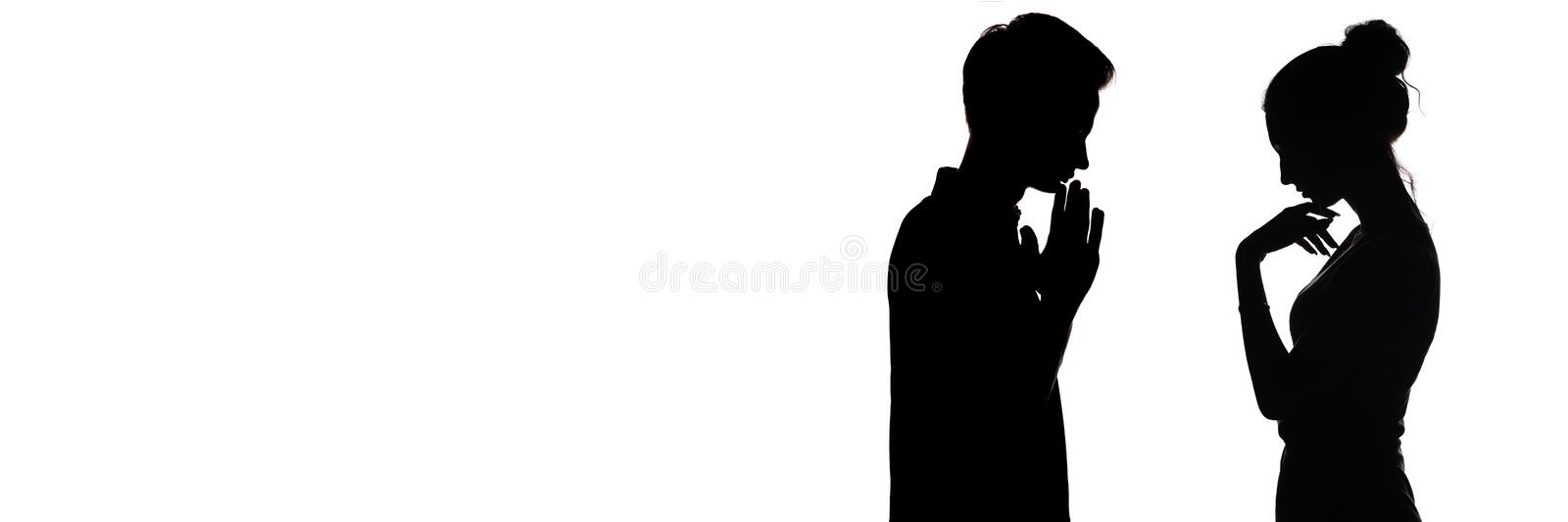 Silhouette profile of pensive young man and woman opposite each other, upset boy and a girl , concept of love and relationships on vector illustration