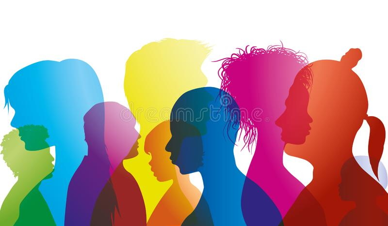 Silhouette profiles of multiracial people of different ages. Group of people different nationalities. Multiple exposure stock illustration