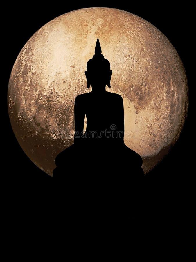 Silhouette public big black Buddha , achtergrond van Globe royalty-vrije stock fotografie