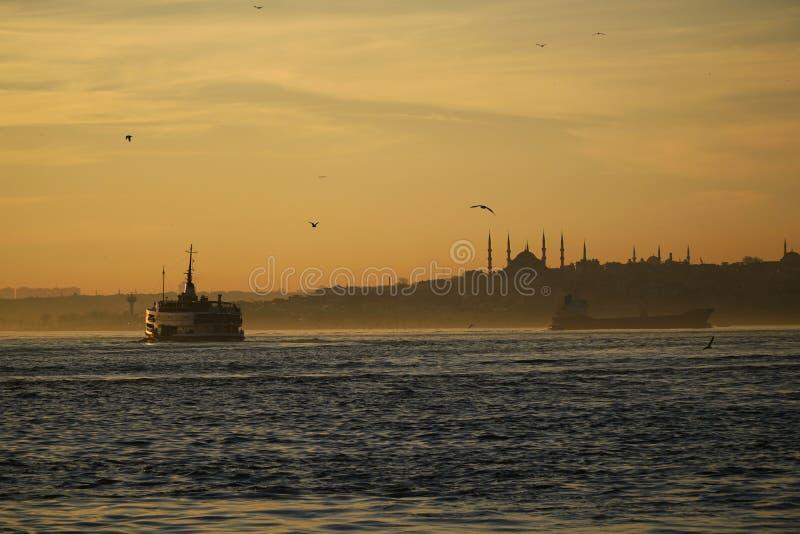 Silhouette of a public trasportation ship royalty free stock photo