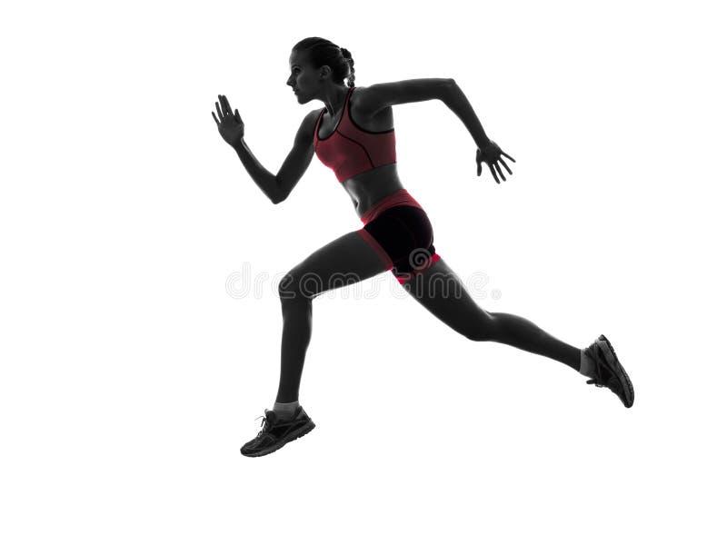 Silhouette pulsante de taqueur courant de coureur de femme images stock
