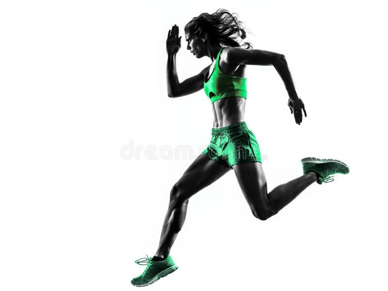 Silhouette pulsante de taqueur courant de coureur de femme images libres de droits