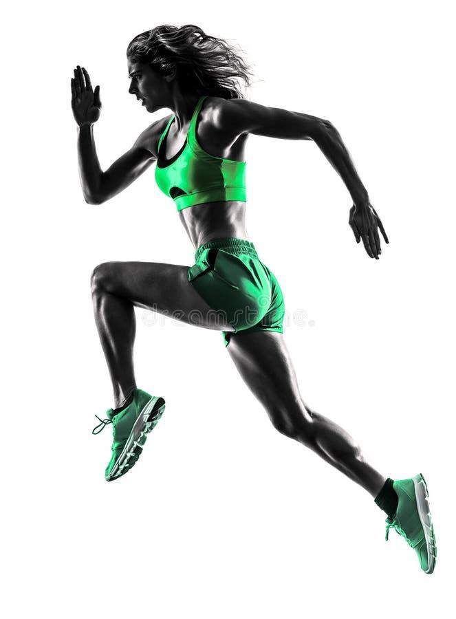 Silhouette pulsante de taqueur courant de coureur de femme photo stock