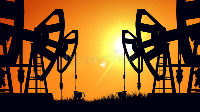 Silhouette pump jacks at sunset. Oil industry. 3D rendering of Silhouette pump jacks at sunset. Oil industry royalty free illustration