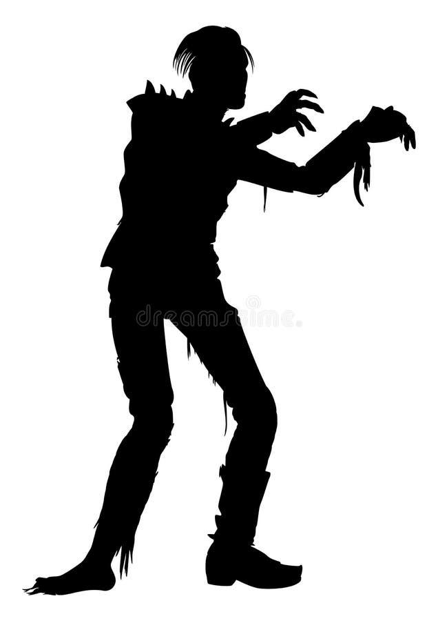 Silhouette punk d'homme de zombi illustration de vecteur
